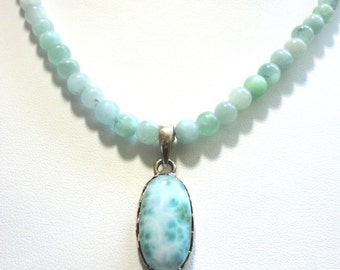 Larimar Pendant in Sterling with Amazonite Beads