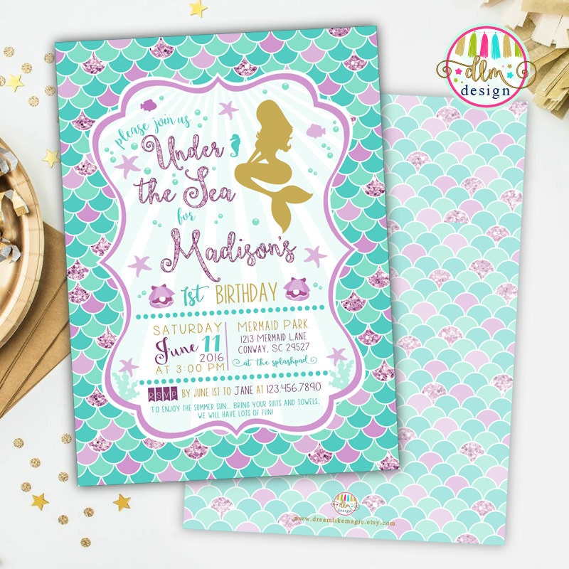 Mermaid Birthday Party Invitation Printable Invite Girl – Mermaid Party Invitations Printable
