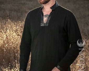 NEW! Men's Long Tunic Top in Black w/Black Faux Leather Collar & Cuffs w/ Silver Moons by Opal Moon Designs (Size S-XXL)