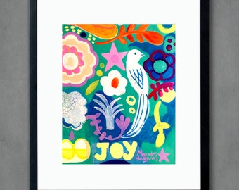Joy bird -Art print, flowers, Bohemian Flower, folk, funky, naive, floral painting, Mexican.