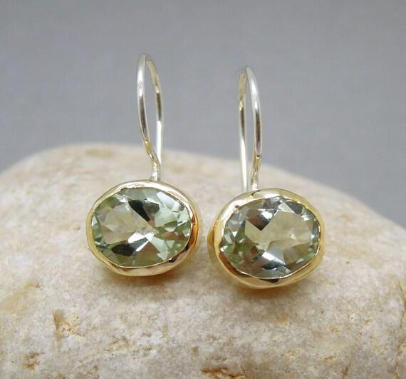 Green amethyst earrings set in yellow gold