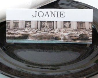 Name Cards / Place Cards/ Food Tents - Trevi Fountain Rome  Italy - Set of 6- Table Decoration