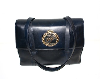 KARL LAGERFELD Vintage Tote Black Leather Monogram Bag - Authentic -
