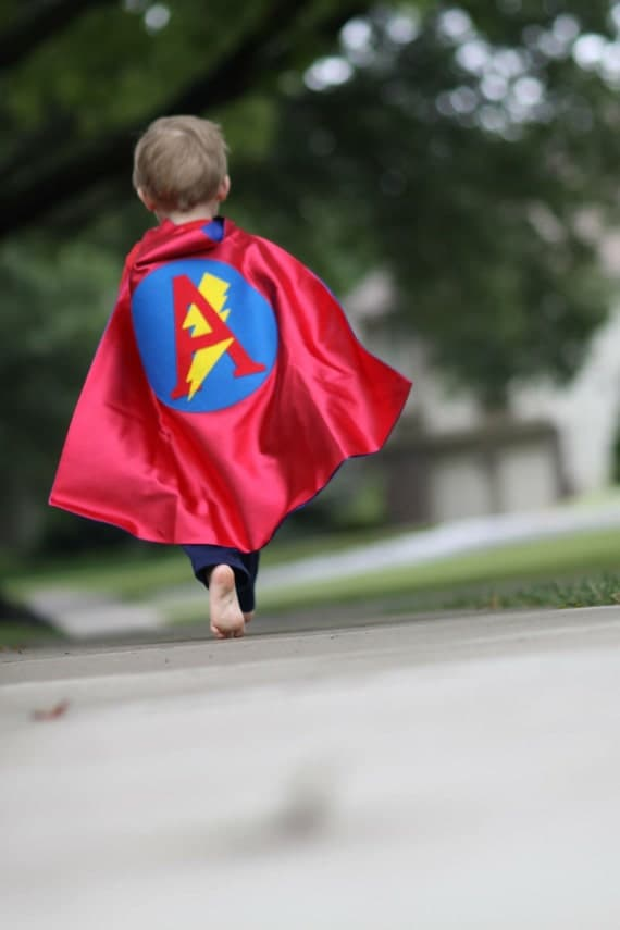 Birthday Personalized Letter Kid Superhero Cape Lightening Bolt Red and Blue , 2T - 7T, waldorf gift new sibling fast delivery
