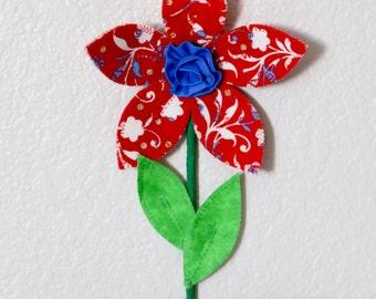 flower wall decal, wall decor for girls room, nursery, 3d wall art, red fabric wall flower, baby shower gift, spring garden