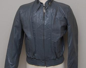 1960s mens grey cafe racer leather jacket / vintage mens leather jacket / Genuine Leather