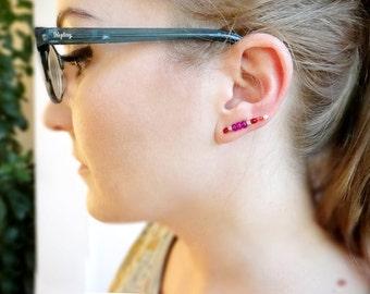 Silver Ear Crawler, Ear Pin Jade Earrings, Sterling Silver Ear Climber, Ear Jacket Earring