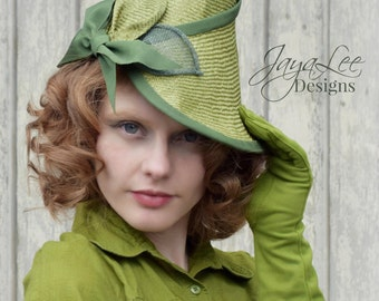 Green Leaf Tilt Hat, 1930's 1940's Style Straw Percher hat