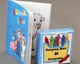 Miniature Farm Coloring Book and Crayon Box, 2 Piece Set, Dollhouse Miniature Decor Accessories, 1:12 Scale