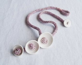 KNOT POD rope necklace white porcelain blush pink knitted i-cord linen necklace artisan porcelain jewellery scandi design
