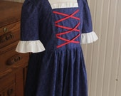 Girl's Colonial Dress w/ Mob Cap Size 5/6 Betsy Ross -Ready to Ship