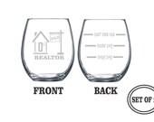 2 REALTOR ETCHED Stemless Wine Glasses Set of 2 Engraved Stemless Wine Glasses Gift for Realtor Funny Wine Glasses Gift Toasting Glasses