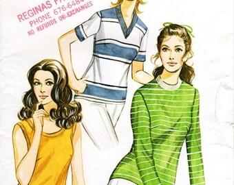 1970s Womens Knit Shirt Pattern - Vintage Kwik Sew 303 - Bust 34 35 37 UNCUT FF