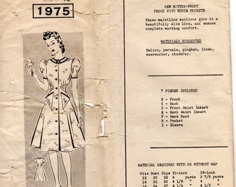 1930s 1940s Womens Button Front Dress with Wedge Pockets - Vintage Pattern Mail Order 1975 - Bust 36