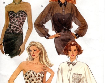 1990s Bustier Top and Shirt - Vintage Pattern Butterick 6545 - Bust 34 36 38