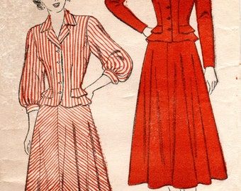 1940s Womens Suit Pattern - Vintage New York 307 - Size 14 Bust 32