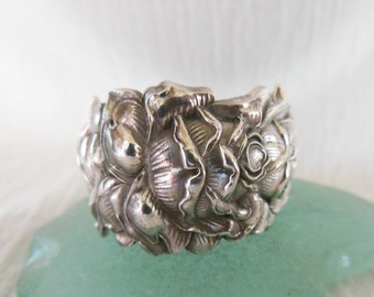 Rose Spoon Ring  Antique Sterling Silver  Size 8.75