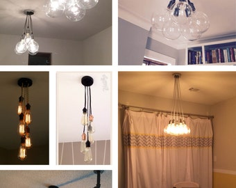 5 Pendant Light Cluster - Any Colors Pendant light - Industrial Chandelier - Industrial ceiling fixture - Custom Light Fixture