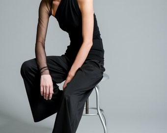 Black Top with a Mesh Sleeve / Unique One Shoulder Sleeve Blouse / Party Tank Top with Extra Long Sleeve / marcellamoda - MB001