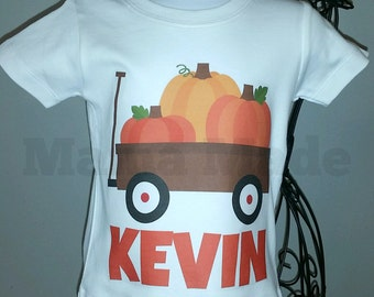 Boy's Halloween Shirt, Pumpkin Patch Shirt, Little Pumpkin Shirt, Boys Halloween Pumpkin Shirt,Pumpkin Wagon Shirt, Wagon with pumpkin shirt
