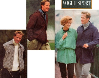 Vogue 8547 Mens Womens Unisex Jackets Pattern 90s Retro Size L XL Bust / Chest 42 44 46 48 Inches UNCUT Factory Folds