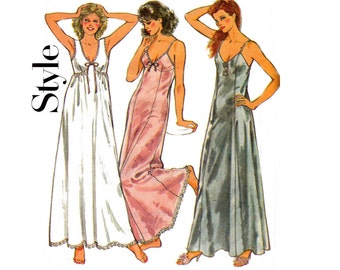 Style 4168 Womens Nightdress 80s Vintage Sewing Pattern Size Medium 14 - 16 Bust 36 - 38 inches