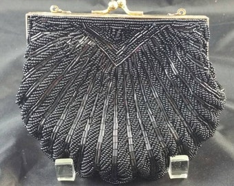 Black Seed & Bugle Bead Evening Bag Clutch Made in China