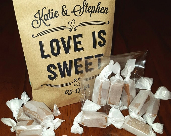 EDIBLE WEDDING FAVORS - Love is Sweet - Personalized, Pre-assembled Favors Guests Will Love with Caramels Featured by the Food Network