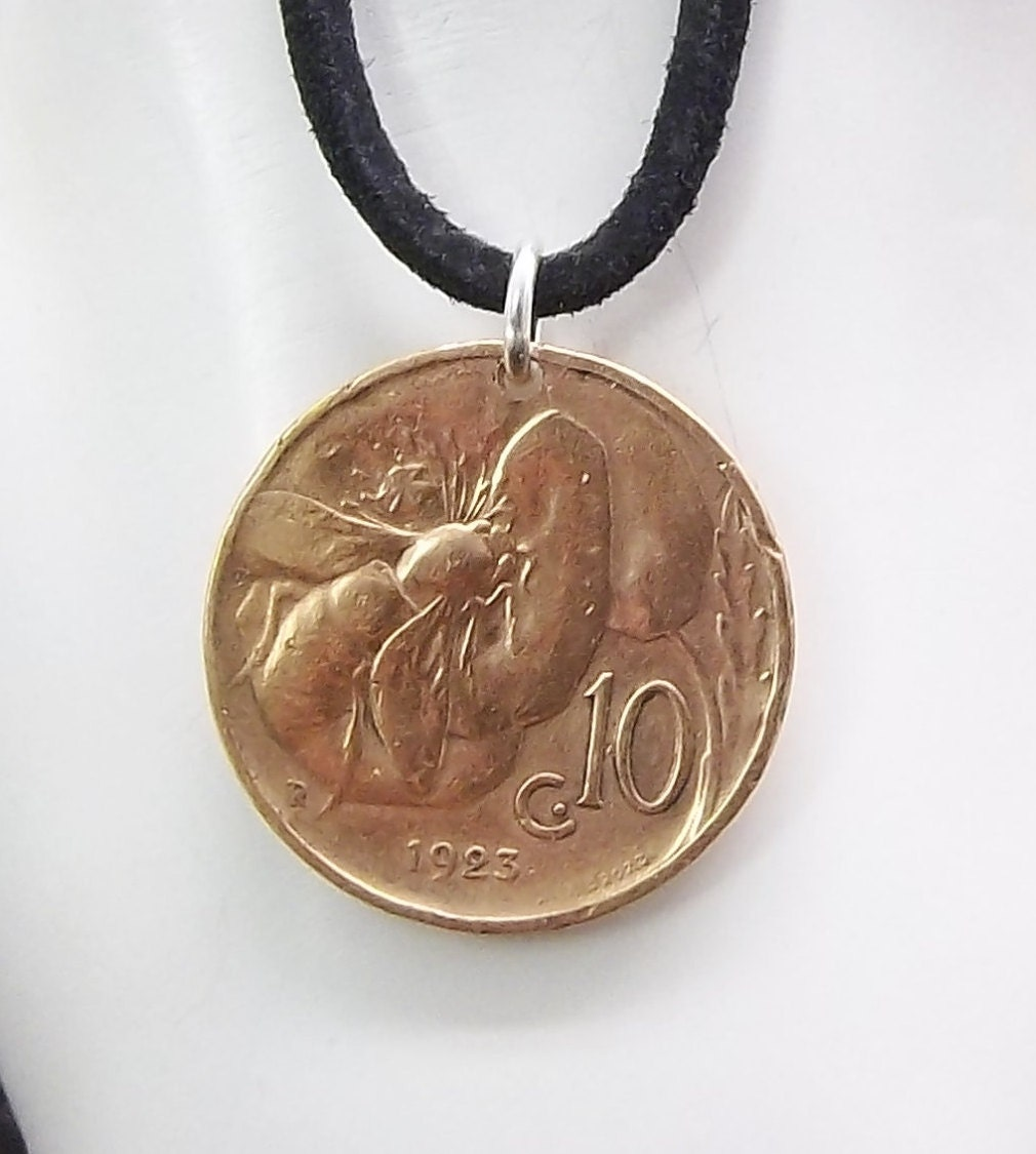 bee coin necklace italian 10 centesmi coin pendant leather