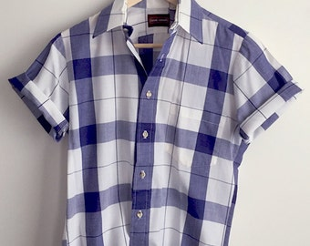 80s Vintage Blue Plaid Button up