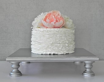 """Silver Cake Stand 14"""" Cupcake Square Vintage Silver Cake Topper Rustic Wedding Decor E. Isabella Designs Featured In Martha Stewart Weddings"""