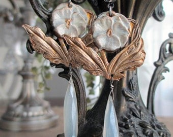 pansy drops - flower earrings floral white shabby art nouveau pearl chalcedony briolettes spring summer jewelry by the french circus