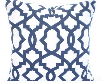 Navy Blue White Geometric Pillow Covers, Decorative Throw Pillows, Cushions, Premier Navy Blue White Sheffield Couch Bed, One ALL SIZES