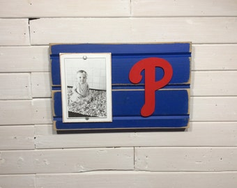 "Philadelphia Phillies picture frame holds 4""x6"" photo, decor"