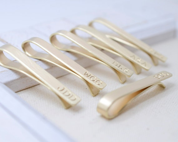 Groomsmen Set Brass Tie Clips Long - Wedding Bridal Accessories - Tie Clips for Men - Best Man Father of   Bride/Groom Groomsman Gift