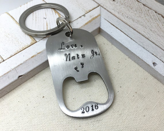 Personalized Bottle Opener - Hand Stamped Gift for Him - Father's Day Gift - Best Dad Ever Daddy Keychain - Grandpa Grandparents Gift