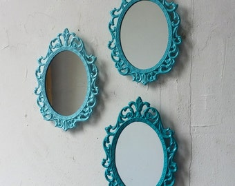 Turquoise Blue Nursery Wall Decor, Small Mirror Set, Oval Mirrors, Boy Baby Shower, Shades of Blue, Room Decor, Turquoise Wall Decor