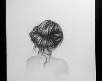Fleur - Original charcoal drawing - 8X10