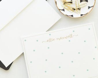 Personalized Note Card Set, Random Polka Dots | Flat Notecard Set | Personalized Stationery