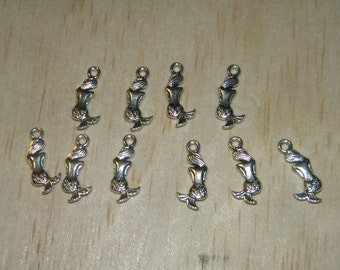 10 Single Sided Nautical Mermaid Silver Tibet Beads