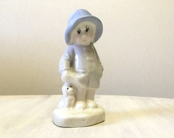 China lady figurine, small kitsch ceramic figurine, little girl statue, cute girl dog porcelain figurine, ceramic lady figurine, little girl