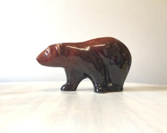 Bear figurine, vintage bear, vintage figurine, bear statue, brown bear ornament, vintage bear ornament, pottery figurine, bear collectible