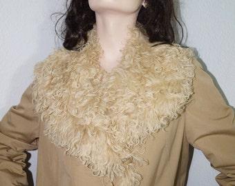 SALE 70s Mongolian Curly Lamb Fur Khaki Trench Swing Coat / Mod Boho Trench Midi Coat Oversized Mongolian Lamb Collar Revillon Boutique
