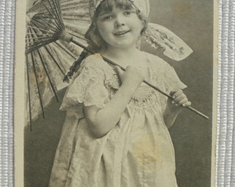 Antique Postcard - Little Girl with a Parasol