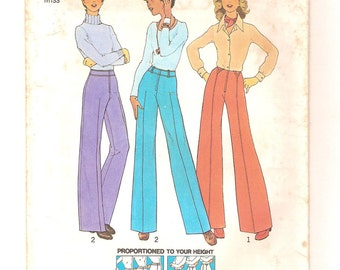 Vintage 70s Pants Pattern - Perfect Fit Proportioned Height Slacks - Simplicity 7056 - Short Medium Tall - Wide Leg or Straight Leg Size 8