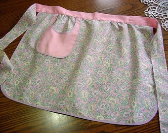 Vintage 60s Half Apron -Wild Roses and Rosehips -Pink Purple Green Yellow Floral Fabric