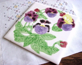 Spring Pansies Vintage Hand Painted Trivet Hot Plate Holder -Purple Yellow Green Floral -Pansy Kitchenware -Purple Room Decor -Tile Hotplate