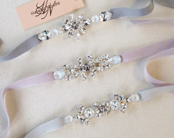Dainty Crystal Bridal Belt- Simple Crystal Bridal Belt- Swarovski Crystal Bridal Sash- Modern Bridal Belt- Bridesmaid Sash