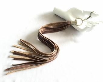 leather purse tassel | keychain charm | tassel keychain | purse charm | long leather tassel | brown leather keyring | tassel bag accessory