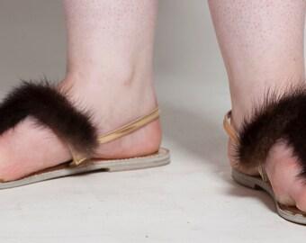 Vintage 1960s Mink Fur Shoes - Gold Lame Mink Tails - Summer Fashions Size 7 8